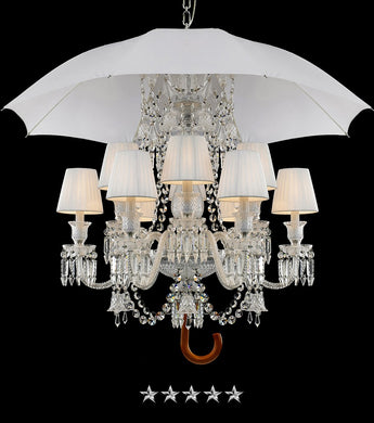 Dazzling Crystal White Umbrella Chandelier - Grand Entrance Chandelier