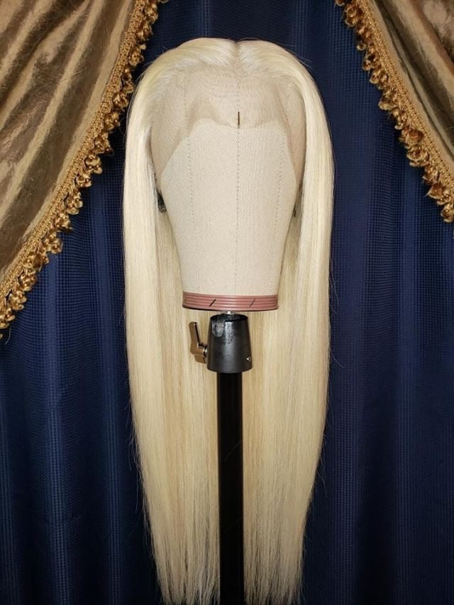 """KYLIE"" CUSTOM HAND STITCHED LACE FRONT 613 STRAIGHT WIG"