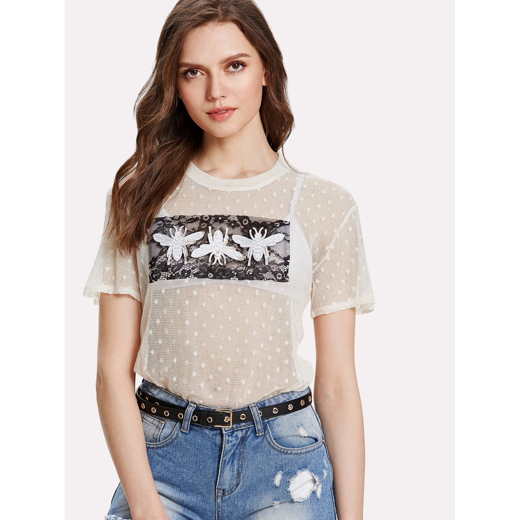BEE APPLIQUE LACE PANEL SHEER TOP