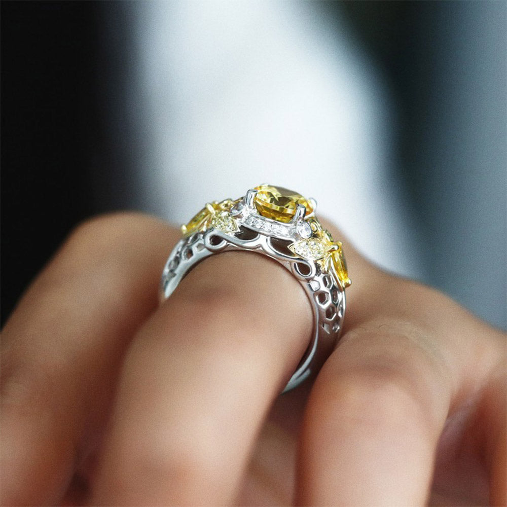 Honeymoon Yellow Crystal Bee Ring
