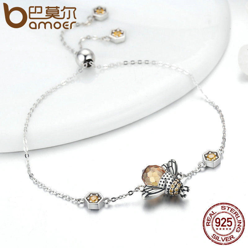 HONEY BEE CHAIN LINK BRACELET CRYSTAL AND 925 STERLING SILVER