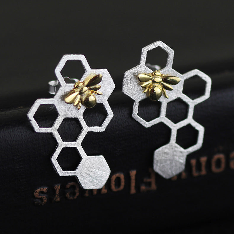 Silver Honeycomb Earrings