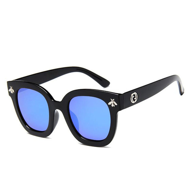 2018 Fashion Square Frame Bee Sunglasses Women Luxury Brand Designer