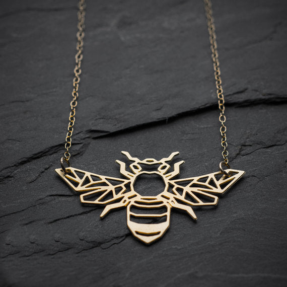 Geometric Gold Bee Necklace