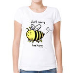 DONT WORRY BEE HAPPY WOMEN'S RELAXED FIT HIGH QUALITY CASUAL SHORT SLEEVE TEE TOPS