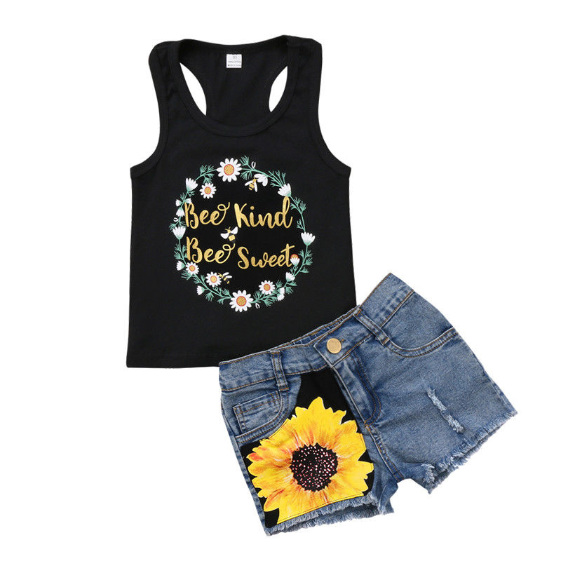 2-6T BEE SWEET FANCY 2PCS KIDS BABY GIRL BLACK VEST TOPS+FLORAL DENIM JEANS SHORTS OUTFIT