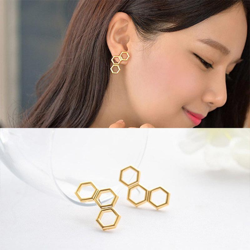 Hexagonal Honeycomb Earrings