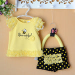 """Bee-utiful"" Baby Girl 2pcs/Set Shirt + Shorts 3-9M"