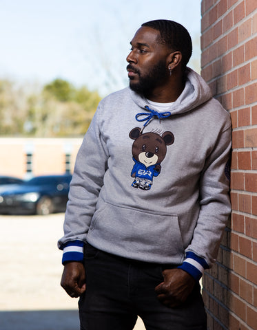 The EMBROIDERED Melly Bear Hoodie in Royal