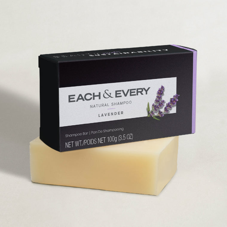 Each & Every Worry-Free Natural Solid Shampoo Bar + Packaging in lavender scent