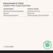 Ingredients in Fragrance Free Hand Sanitizer