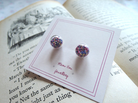 Glass Globe and Sprinkles Earrings