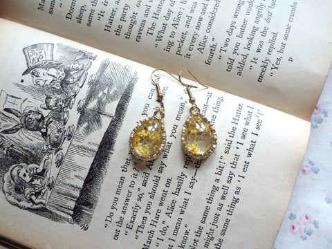 Yellow Flower Crystal Earrings