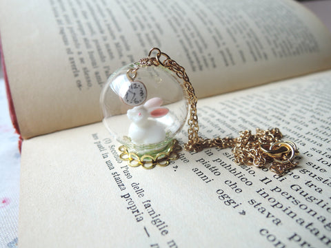 I'm late white rabbit glass globe necklace