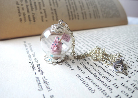 Eat Me cupcake glass globe necklace