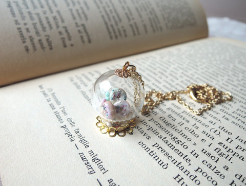 Mini Pastel Donuts Glass Globe Necklace
