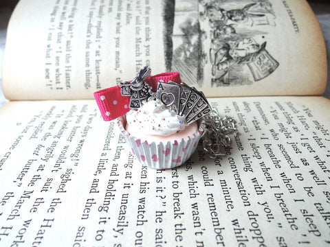 Alice in Wonderland White Rabbit Red Cupcake Necklace