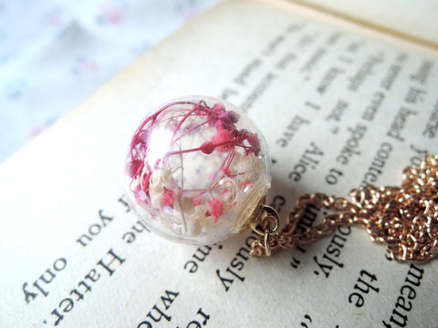 Flower garden glass globe necklace