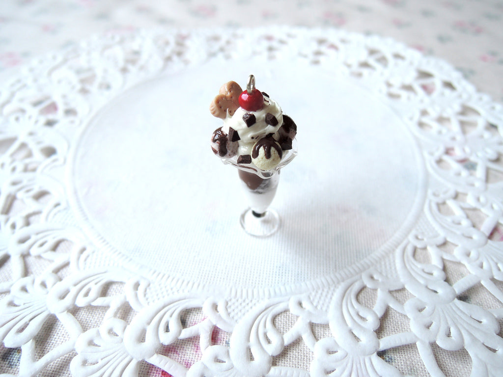 Chocolate Ice-Cream Sundae Necklace