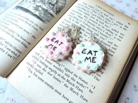 Alice 'Eat Me' Cookie Necklace