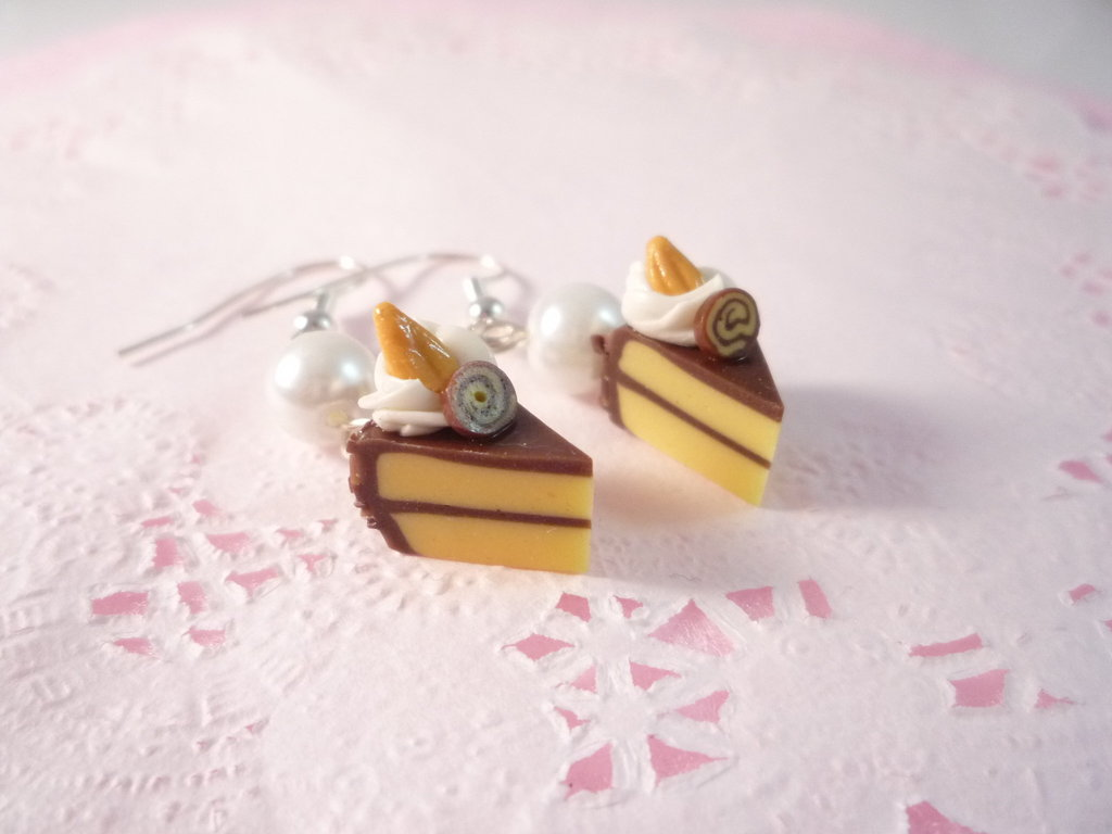 Chocolate Almond Cake Earrings