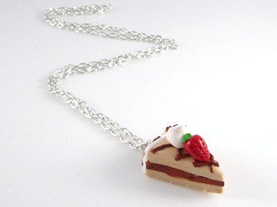 Coffee Strawberry Cake Necklace