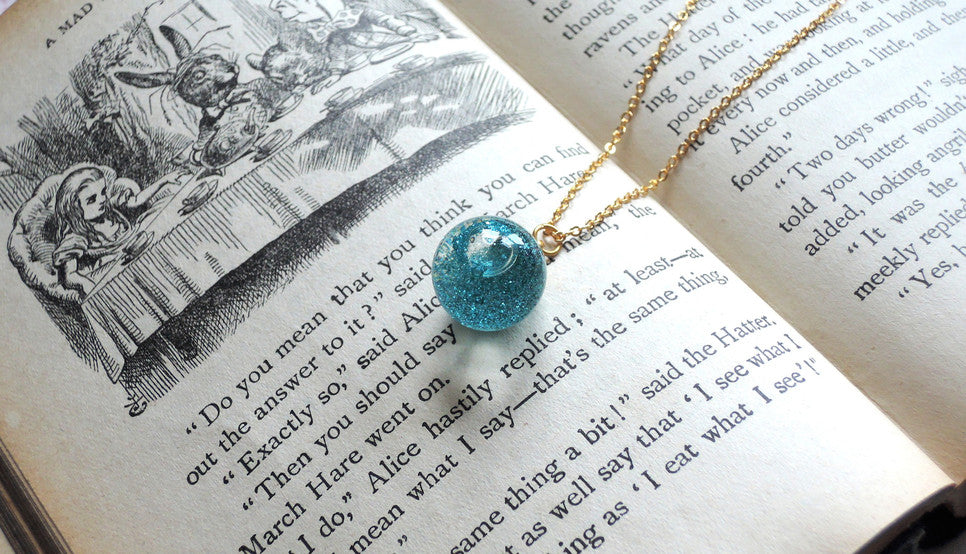 glass globe glitter necklace meow box jewellery