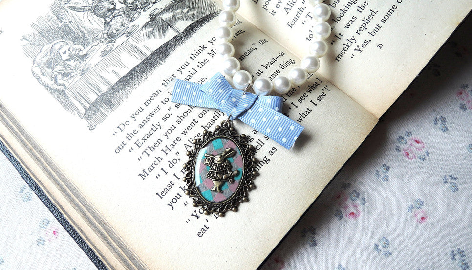 alice in wonderland rabbit cameo necklace meow box