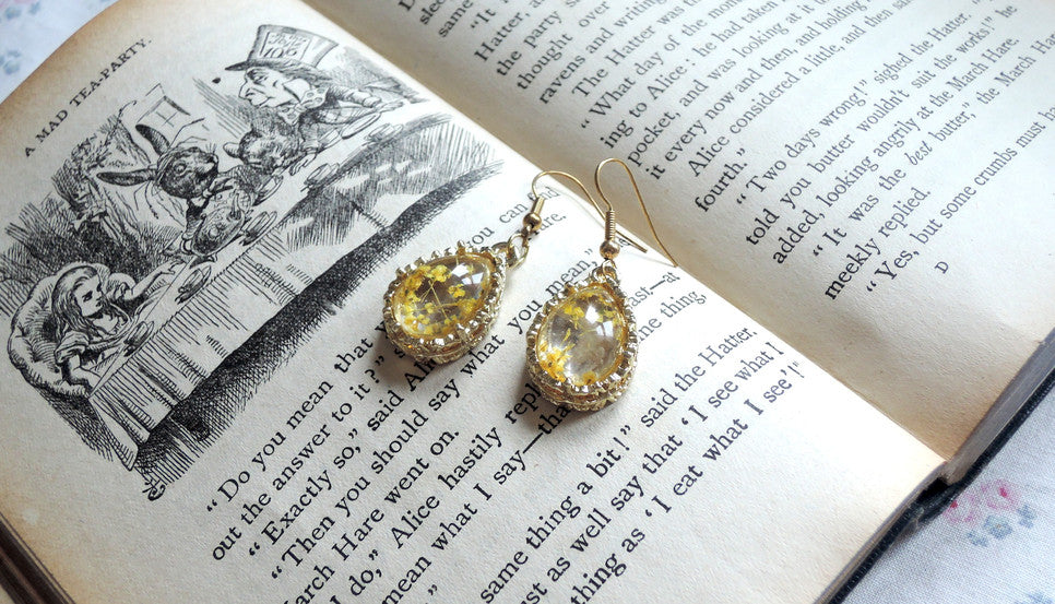 glass globe flower crystal earrings meow box jewellery