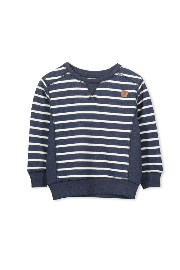 Milky Stripe Crew Sweater