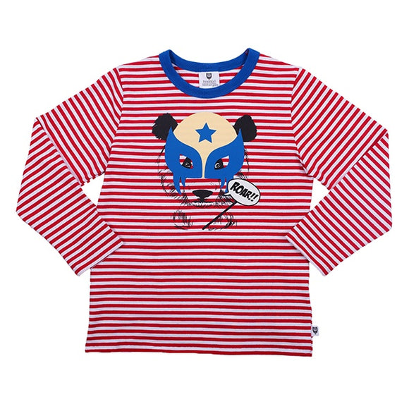 Hootkid Wrestling Bear Tee - Red/White Stripe *** Now 30% Off