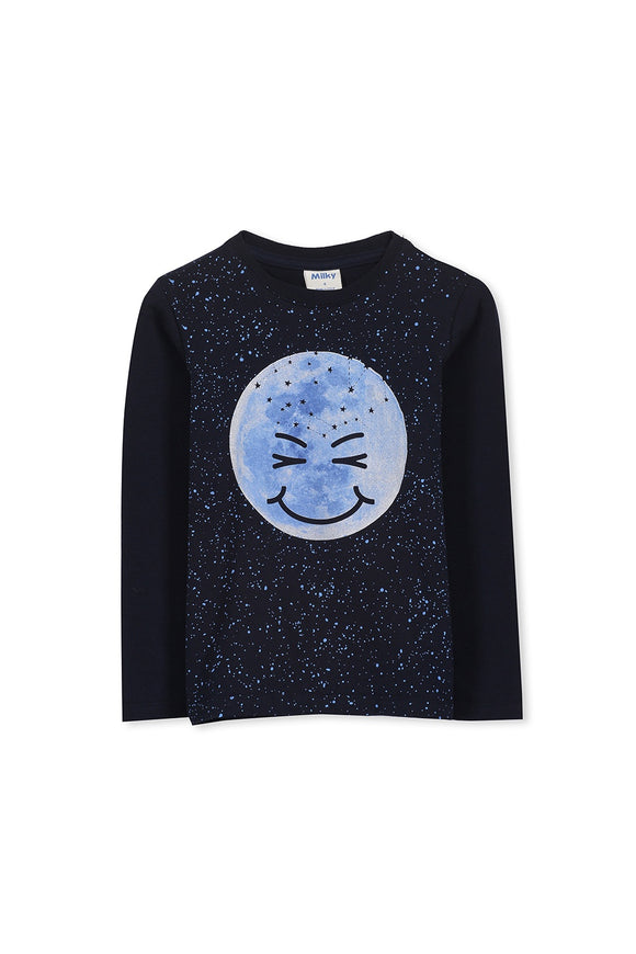Milky Moon Tee - French Navy
