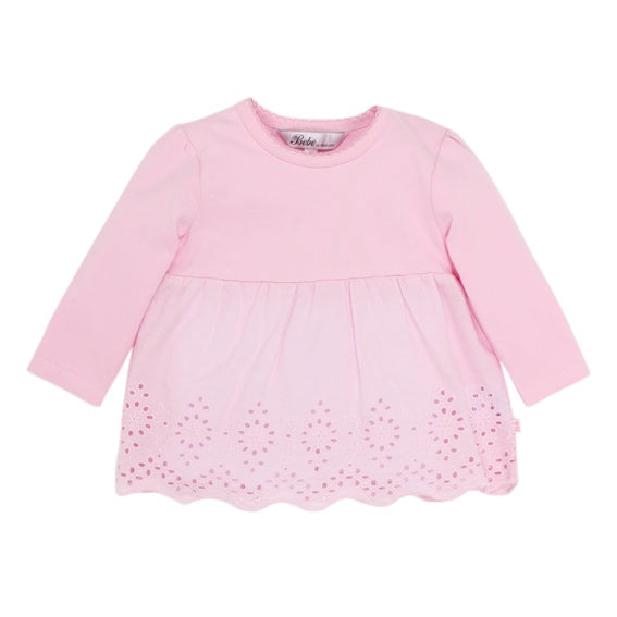 Bebe L/S Blouse W Cut Out - Peony Pink