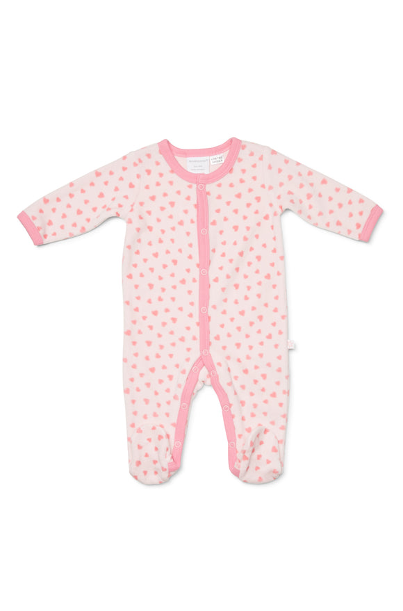 Marquise Velour Studsuit Pink Hearts