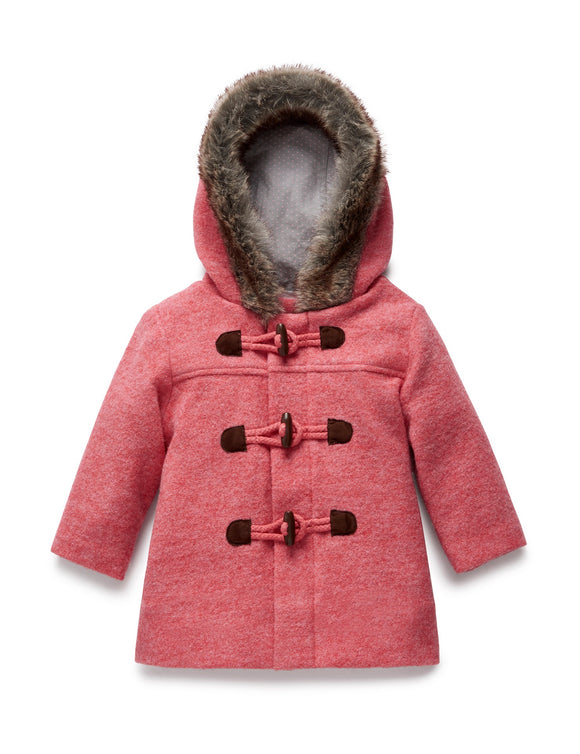 Purebaby Duffle Coat with Fur Princess Melange