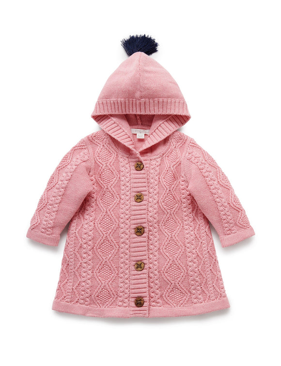 Purebaby Long Cable Cardigan Venus Melange