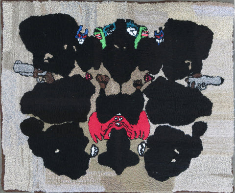 SALE! 'RAY'S RORSCHACH TEST' Hooked Rug