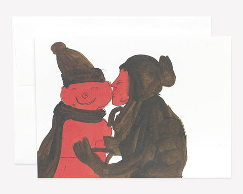 'KISSING SNOWMAN' Greeting Card