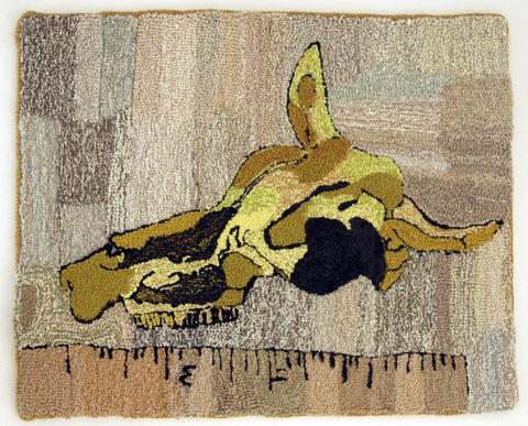 SALE! 'MORE COW SKULL' Hooked Rug