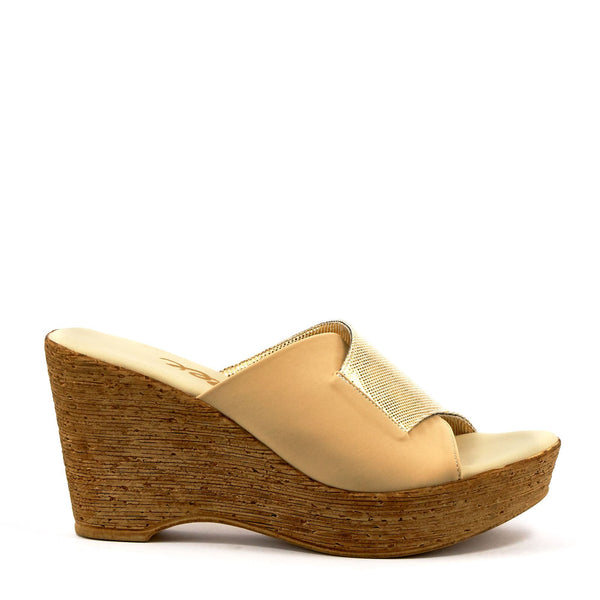 gold leather wedges by Onex Shoes