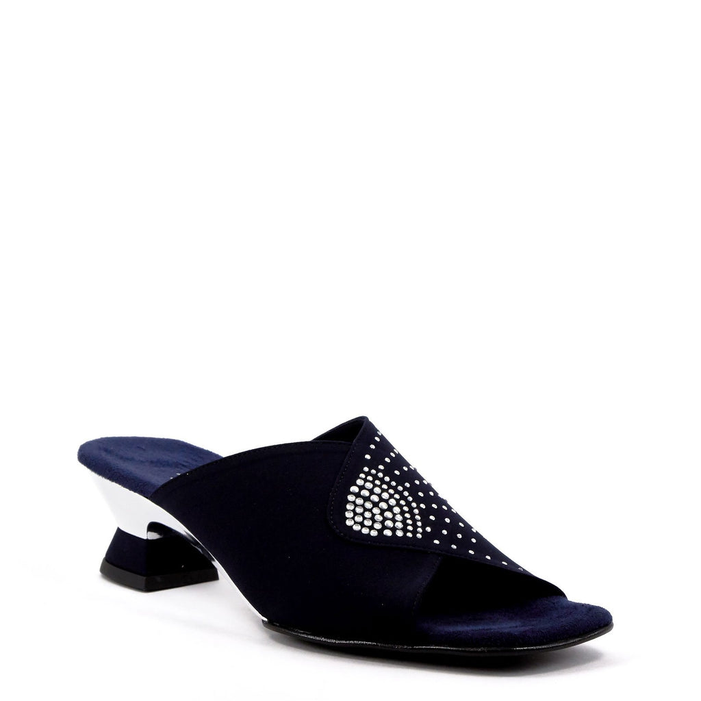 Navy blue low heel evening sandal by Onex Shoes
