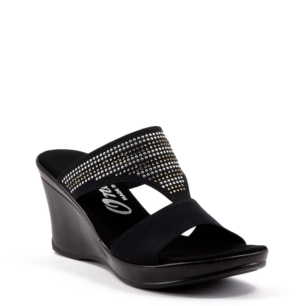 Black & Silver Dress Wedges By Onex Shoes