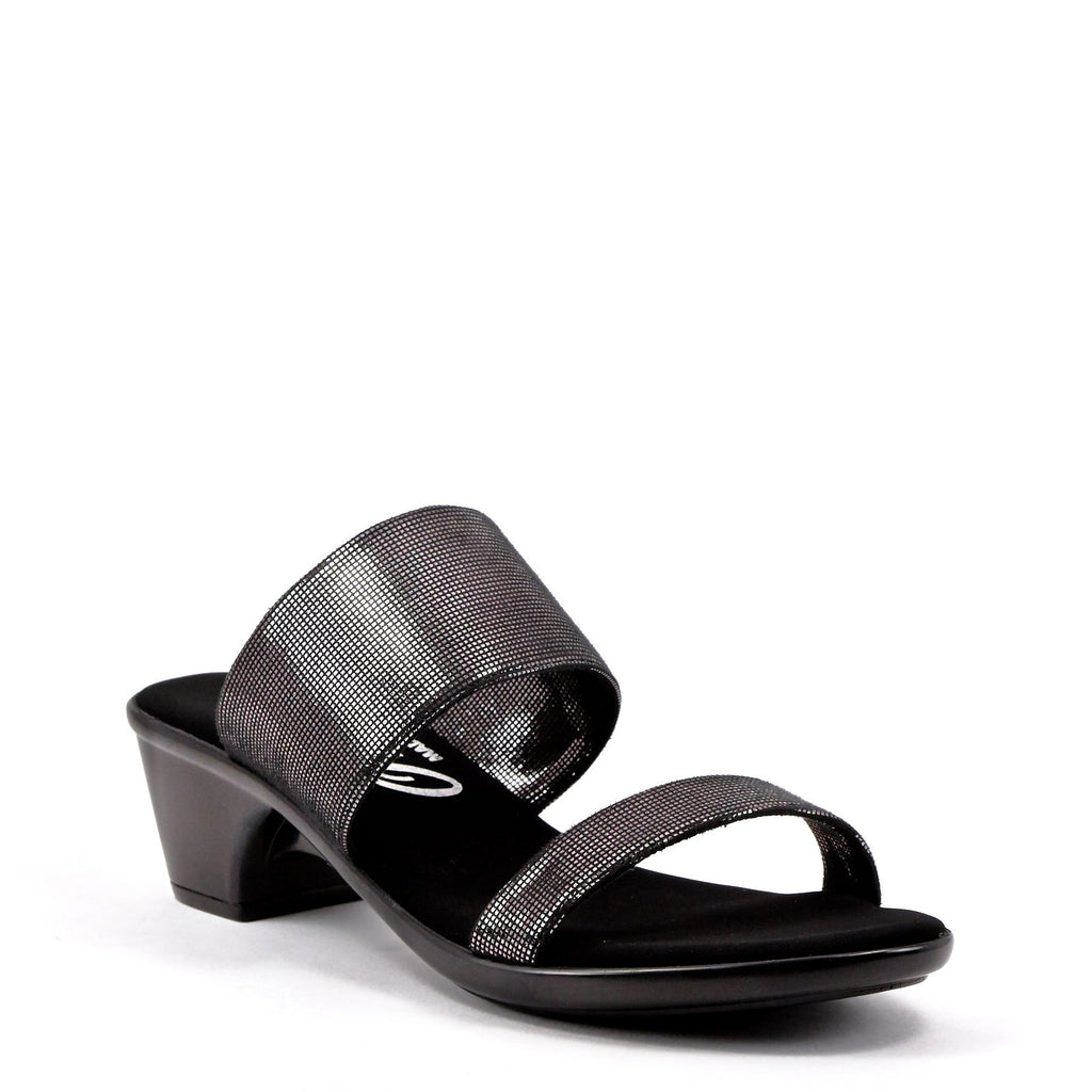 Black & Silver Low Heel Sandal From Onex Shoes