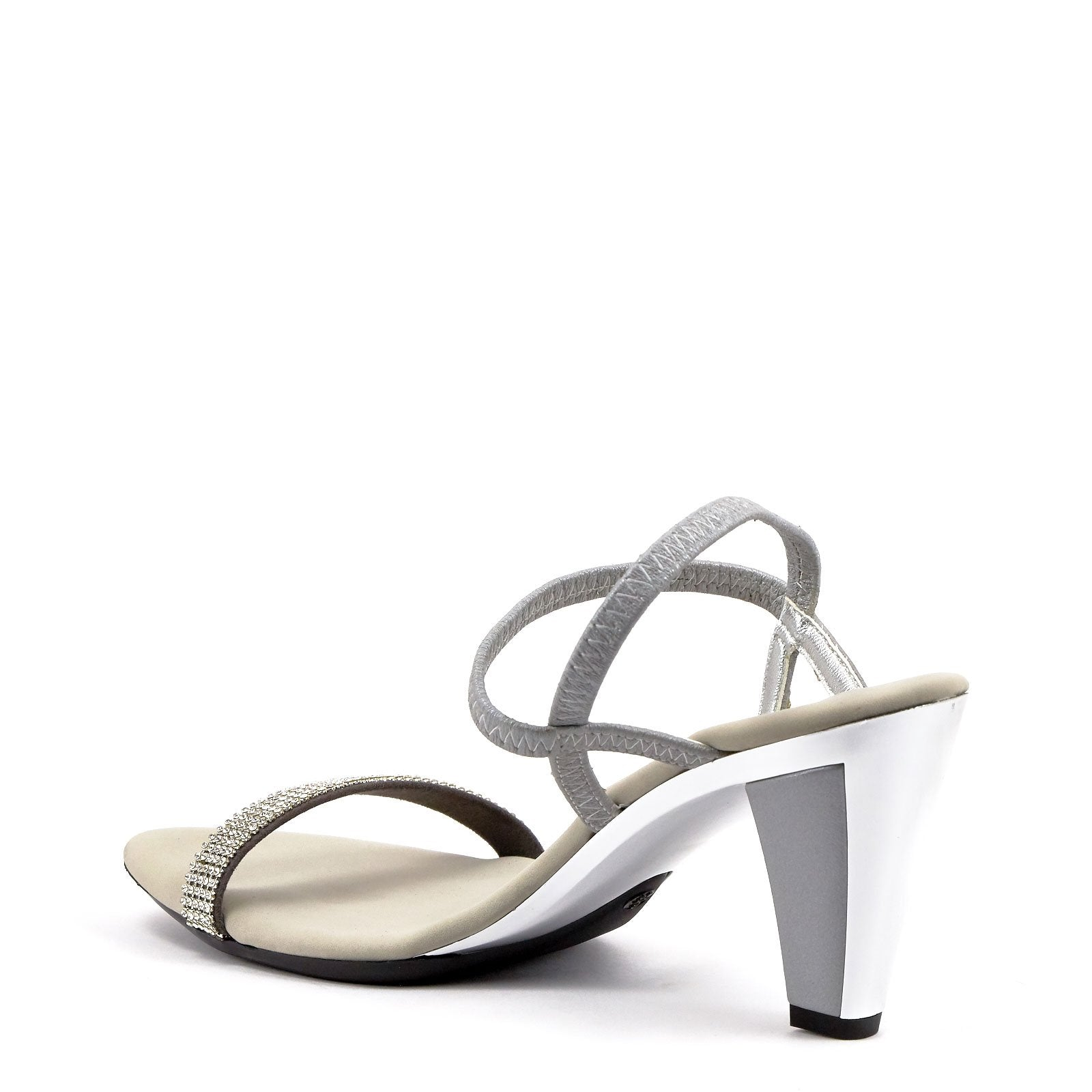 1713c47bd Silver Low Heel Strappy Sandals By Iced Matte Silver Leather – Onex ...