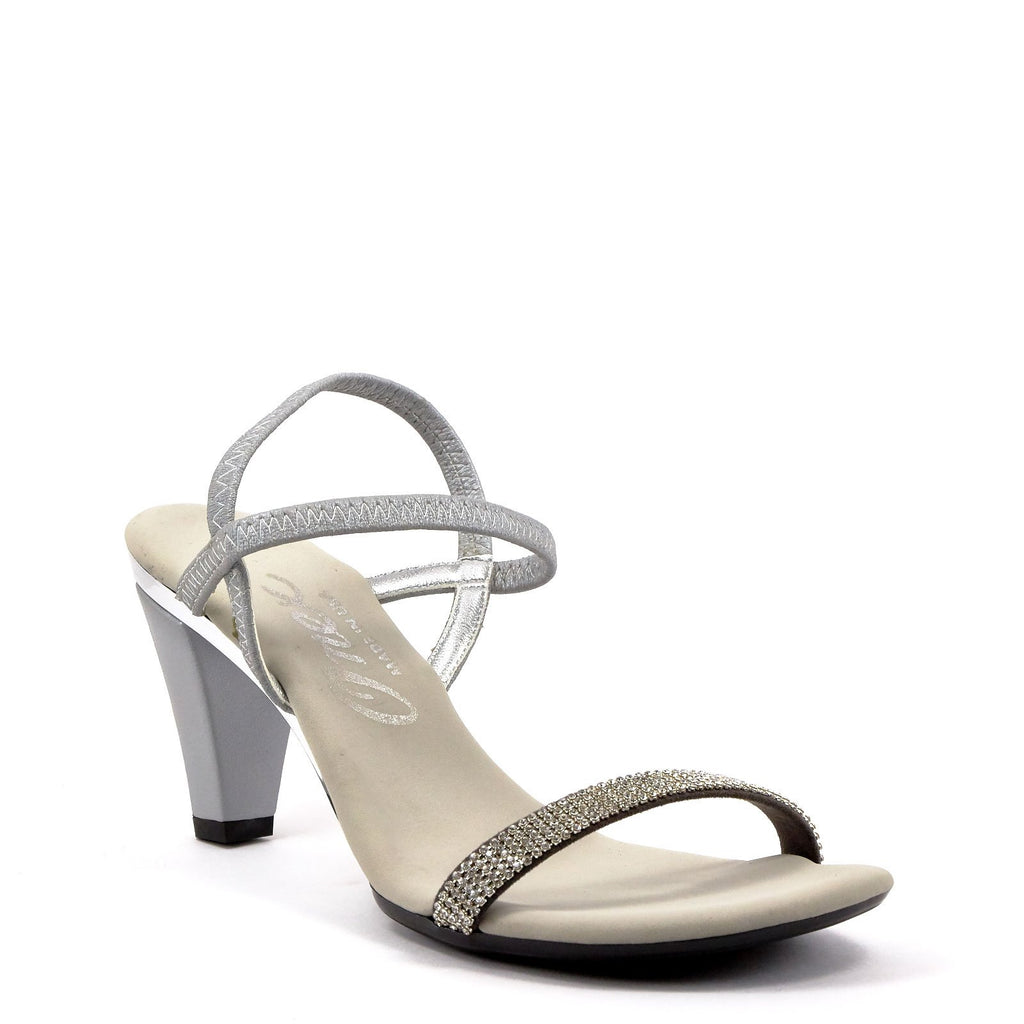 ab8e80ec5 Silver Low Heel Strappy Sandals By Iced Matte Silver Leather – Onex ...