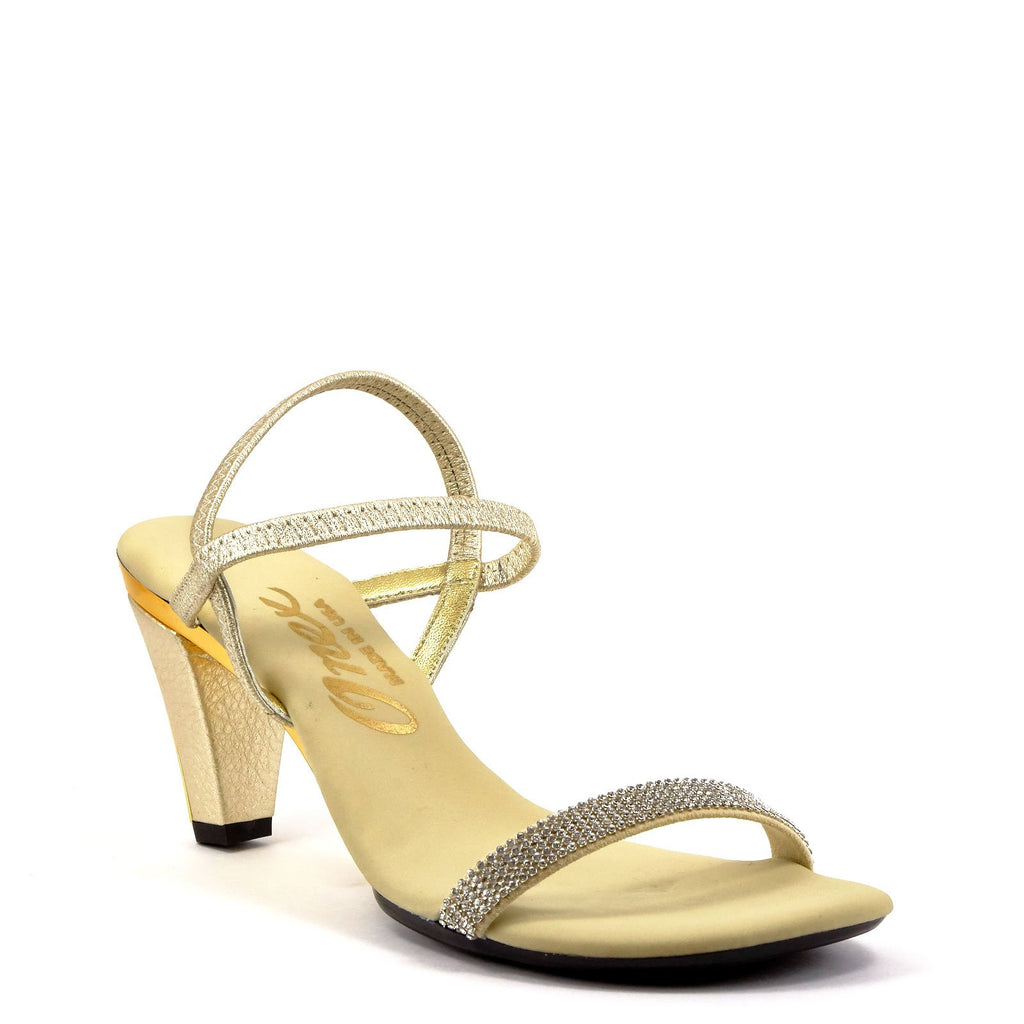 685dcf4519bc Gold Strappy Evening Heel By Iced Gold Leather – Onex Shoes