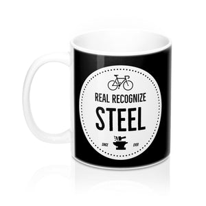 Real Recognize Steel Coffee Mug #steelisreal - Uphill Industries Cycling Apparel