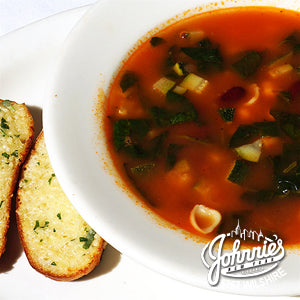 Minestrone Soup - Johnnie's New York Pizza 5757 Wilshire Blvd # 102 Los Angeles 90036 www.lajohnniesnypizzeria.com Miracle Mile Johnnys Pizza