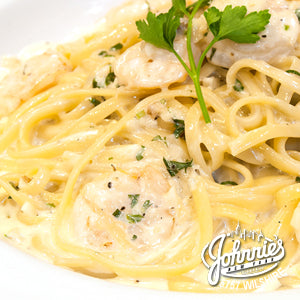 Shrimp Scampi Pasta - Johnnie's New York Pizza 5757 Wilshire Blvd # 102 Los Angeles 90036 www.lajohnniesnypizzeria.com Miracle Mile Johnnys Pizza