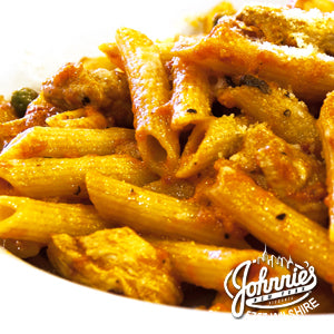 Smoked Chicken Penne - Johnnie's New York Pizza 5757 Wilshire Blvd # 102 Los Angeles 90036 www.lajohnniesnypizzeria.com Miracle Mile Johnnys Pizza